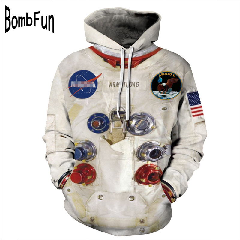 BombFun Men Hoodies Armstrong 3d Sweatshirts Men Spacesuit Hoodie Print Hooded Couple Tracksuits Women Hoodies Cosplay Astronaut
