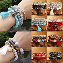 4pcs Tassel Beaded Bangle Boho Natural Bodhi Multilayer Bracelet Stone Crystal(China)