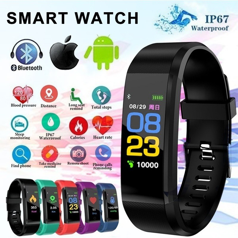 115Plus Bracelet Heart Rate Blood Pressure Smart Band Fitness Tracker Smartband Bluetooth Wristband For Fitbits Smart Watch