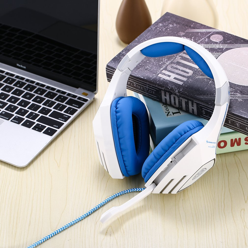 Oreillette souple renforcée bandeau USB musique stéréo choquant son casque casque de jeu avec Microphone réglable