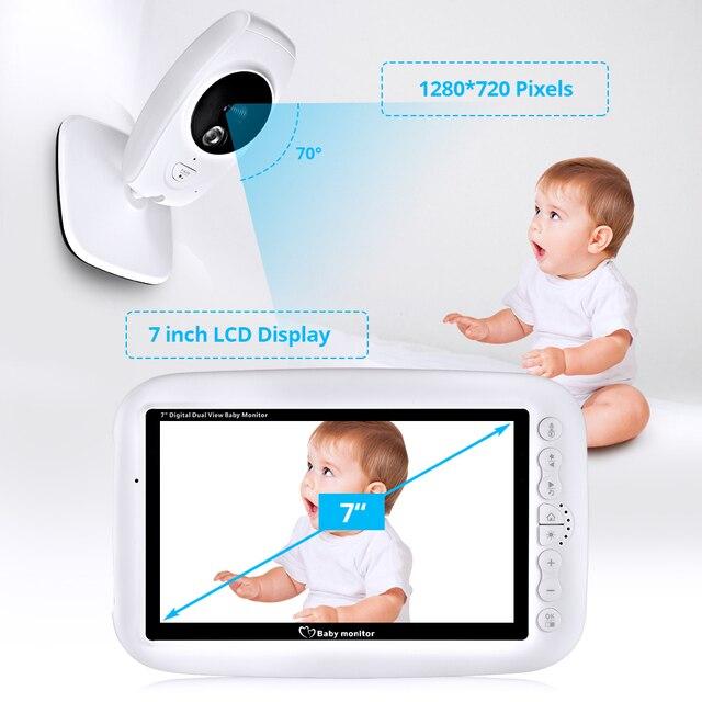 كاميرا FUERS 7 بوصة 720P عالية الدقة لاسلكية لمراقبة الأطفال والرؤية الليلية شاشة تهويدة لاسلكية مزدوجة شاشة LCD مراقبة مربية
