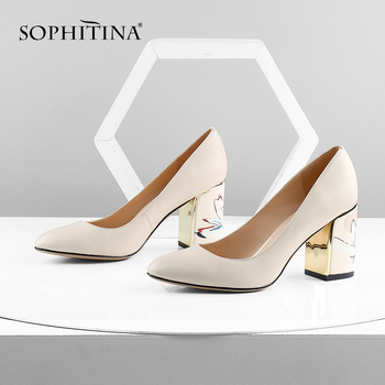 SOPHITINA Pumps Woman Print Square Heels Slip-On Shallow High Quality Pumps Sheepskin Office Handmade Elegant Women's Shoes C605 цена 2017