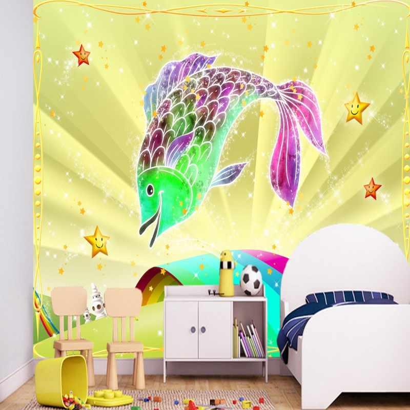 Dropship טפט 3d מותאם אישית ילדי חדר רקע קיר קיר קריקטורה בתי דגי קשת גשר קיר טפט