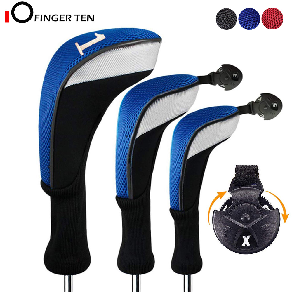 3Pcs/Set Driver Fairway Hybrid Golf Club Head Covers Long Neck 1 3 5 7 X Interchangeable Number Tag For Men Women