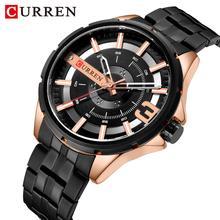 CURREN Black Watches Mens Dial Quartz Watch Fashion Waterproof Wristwatch Stainless Steel Top Brand Luxury Men Clock цена