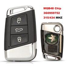 Jingyuqin ASK 315/433MHZ MQB48 Chip 3B zdalne sterowanie kluczami samochodowymi dla volkswagena VW Magotan Passat B8 Skoda A7 kontrola pełny klucz