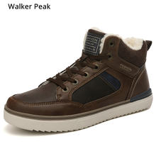 Maat 39-45 Winter Pluche Retro Mannen Booties Comfortabele Merk Casual Schoenen Echt Leer Snowboots Warm Winter schoenen walkerpeak(China)
