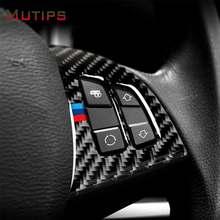 Mutips volante do carro botão de fibra de carbono steer botão adesivo emblema decoração acessórios para bmw x5 e70 x6 e71 2008-2013