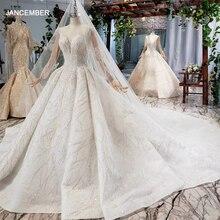 HTL736 bohème robe de mariée 2021 avec voile o cou robe de bal à manches longues perles cristal Appliques paillettes