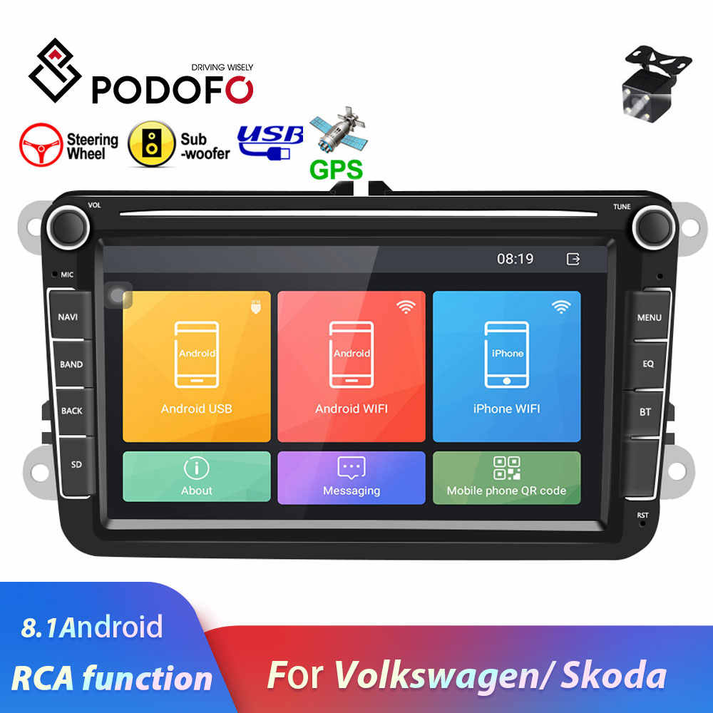 "Podofo 2 Din 8 ""Android 8,1 auto Radio Multimedia MP5 reproductor de Audio para Volkswagen Car player GPS WIFI control de dirección Autoradio"