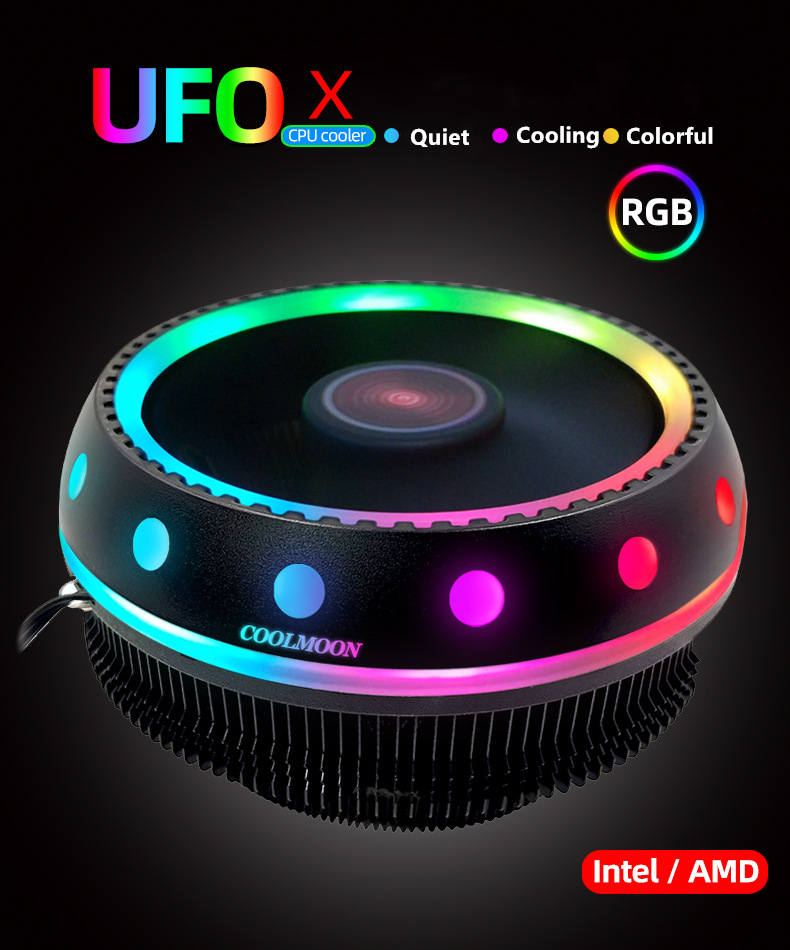 RGB 100mm Colorful LED Ring PC CPU Cooler For AMD Intel 775//1366//AM2//AM2+//AM3 10