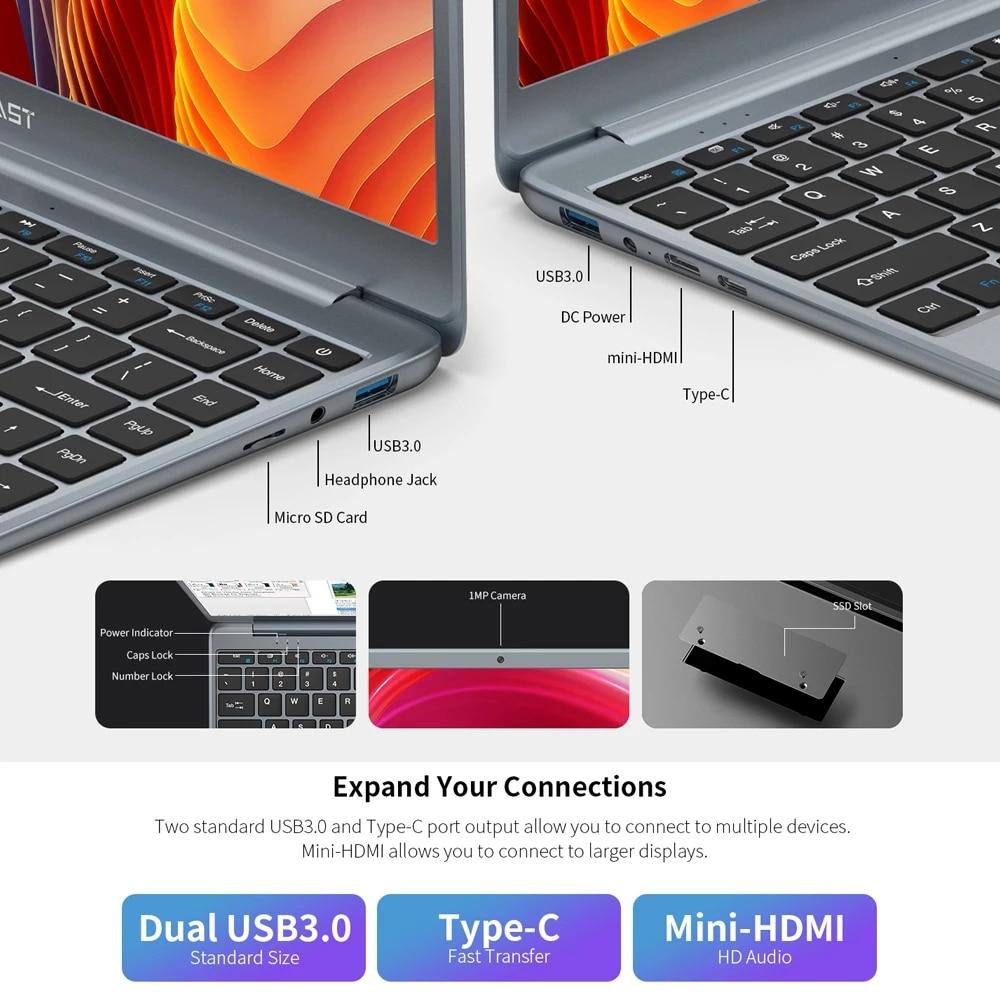 Teclast F7 Plus 2 Laptop 14.1 Inch Notebook Windows 10 1920 x 1080 Intel Gemini Lake N4120 Quad Core 1.1 GHz 8 GB RAM 256 GB SSD 5