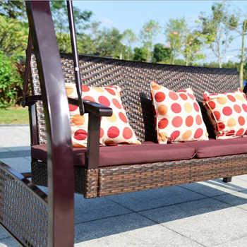 Outdoor Iron Garden Swing Tent Double Rocking Chair Balcony Courtyard Leisure Rattan Chair Hanging Tent Chair
