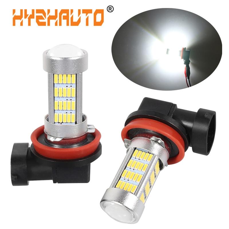 HYZHAUTO 2Pcs H8 H11 LED Fog Lights White Yellow HB4 HB3 9005 9006 Bulb 4014 92SMD Car LED Fog Lamp Driving Light DRL 12V-24V