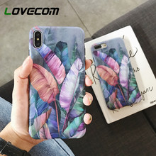 LOVECOM Vintage Banana Leaves Phone Case For iPhone 11 Pro Max XR XS Max 7 8 Plus 6 6S Soft IMD Full Body Back Cover Coque Gift(China)