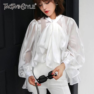 Image 1 - TWOTWINSTYLE Chiffon Bowknot Weiß frauen Shirts O Neck Spitze Up Laterne Lange Hülse Hemd Bluse Weibliche 2020 Herbst Mode neue