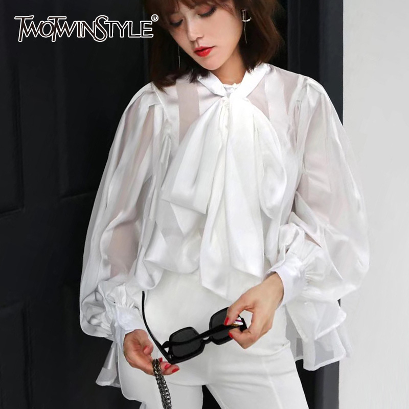 TWOTWINSTYLE Chiffon Bowknot White Women's Shirts O Neck Lace Up Lantern Long Sleeve Shirt Blouse Female 2019 Autumn Fashion New