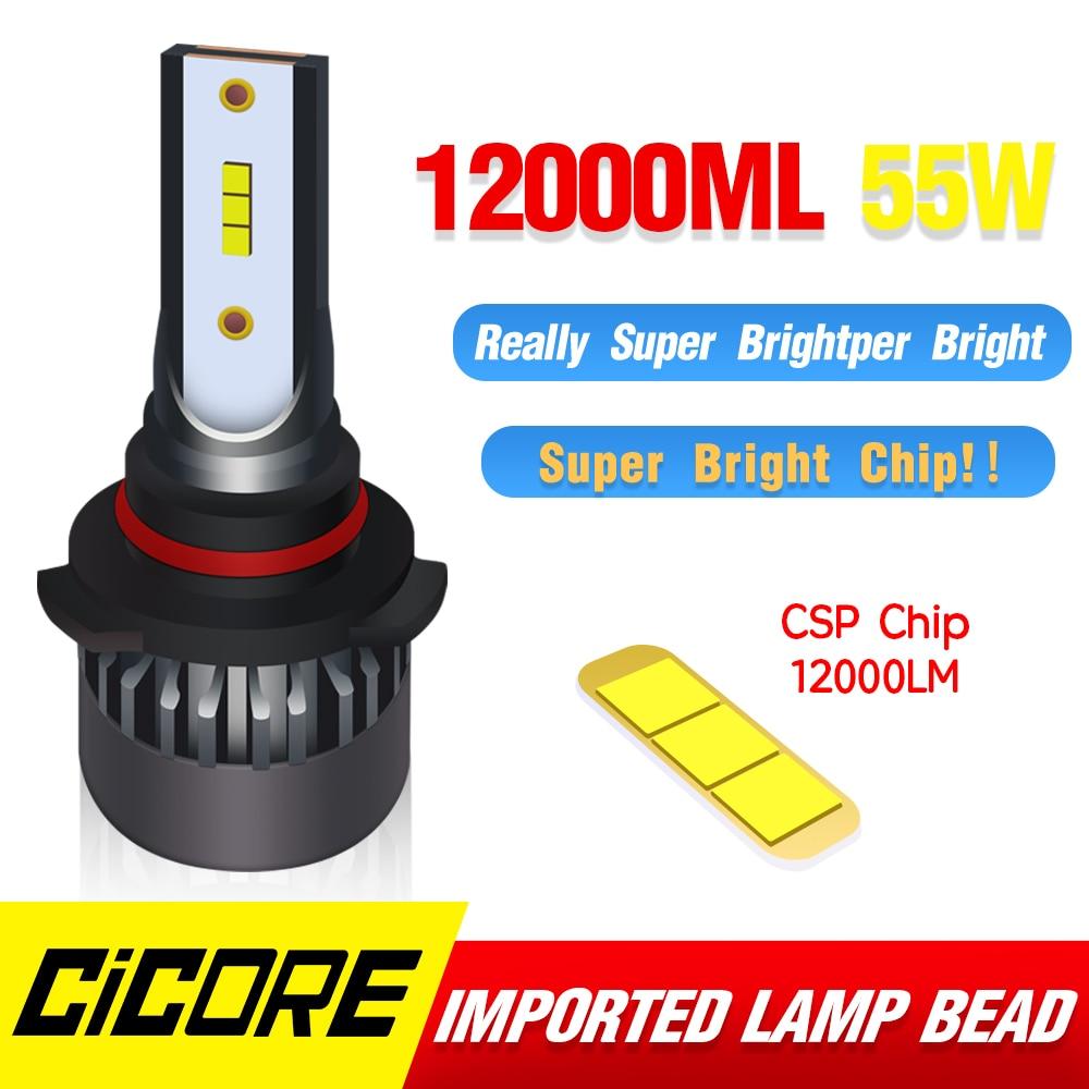 Cicore Led Hb3 Car Headlight Bulbs H7 55w Led Hb4 H4 H 7 Bulb Fog Light Kit 9005 9006 Super Bright 9012 Hir2 12000lm 12v 6000k