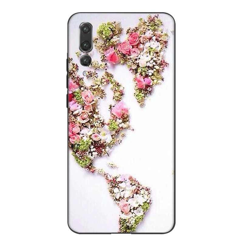 Étui de téléphone portable Silicone pour Huawei P30 P20 P10 P9 P8 Lite Pro P Smart Z couverture carte du monde vente chaude sac Shell