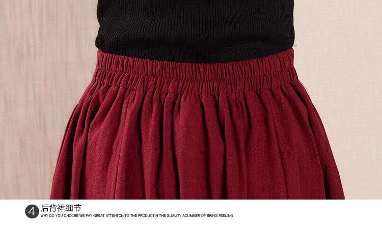 Skirt FZBIZLYV Embroidery Linen 17