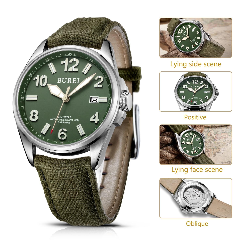 automático safira militar relógio mecânico casual correia lona relogio masculino 2020