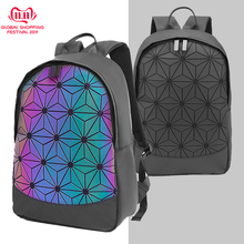 Geometric Backpack Women Luminous Holographic Backpacks Reflective Iridecent Fashion Daypack