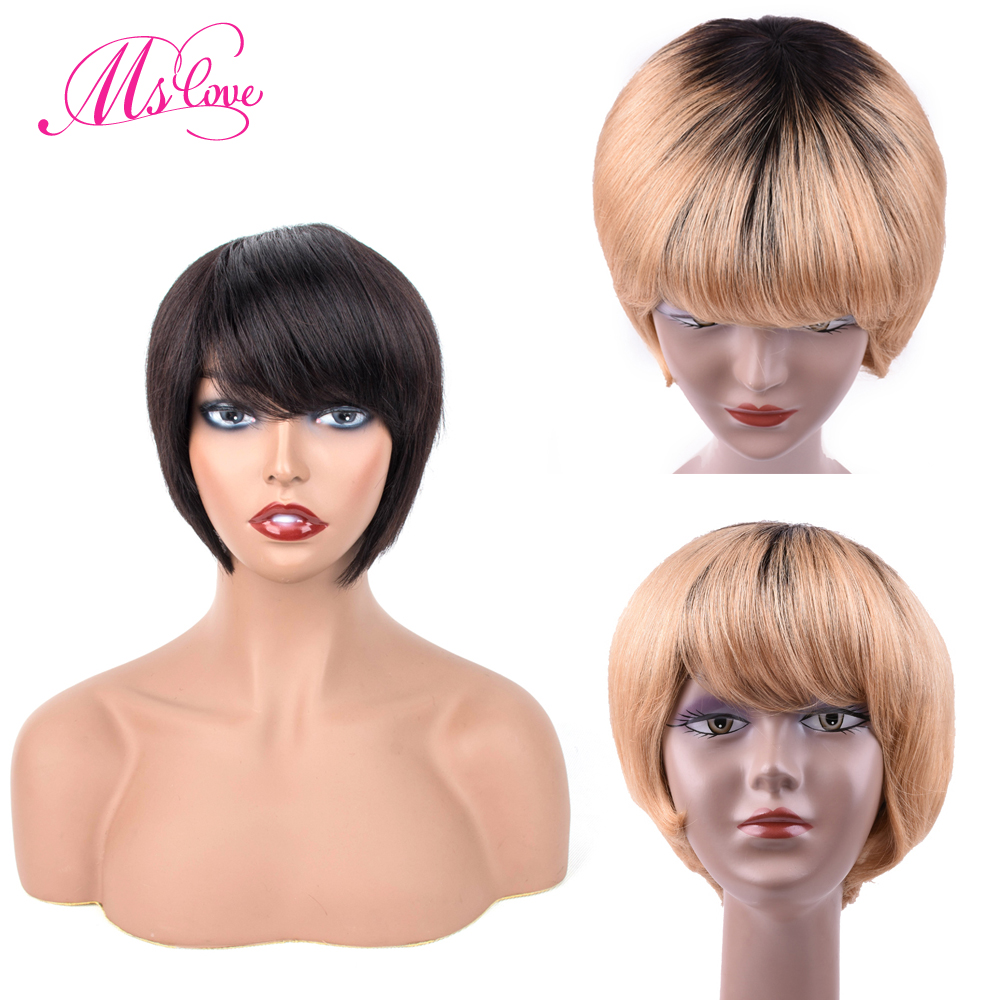 Ms Love Short Human Hair Wigs With Bangs Straight Brazilian Wigs For Women 6 Inch Natural Black Color Non Remy