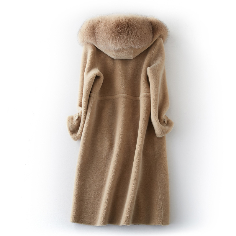 Autumn Winter Luxury Jacket Women Warm Thick Sheep Shearing Coats Real Fox Fur Collar Hooded Parkas BF231098 MF489