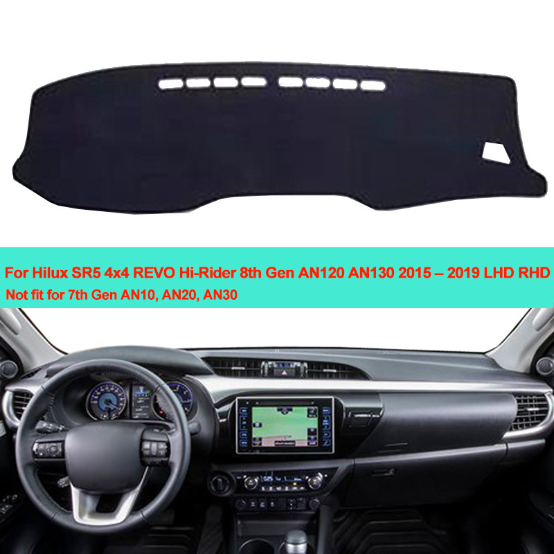 Car Inner Dashboard Cover Dash Mat Carpet For Toyota Hilux SR5 4x4 REVO Hi-Rider 8th Gen AN120 AN130 2015 2016 2017 2018 2019