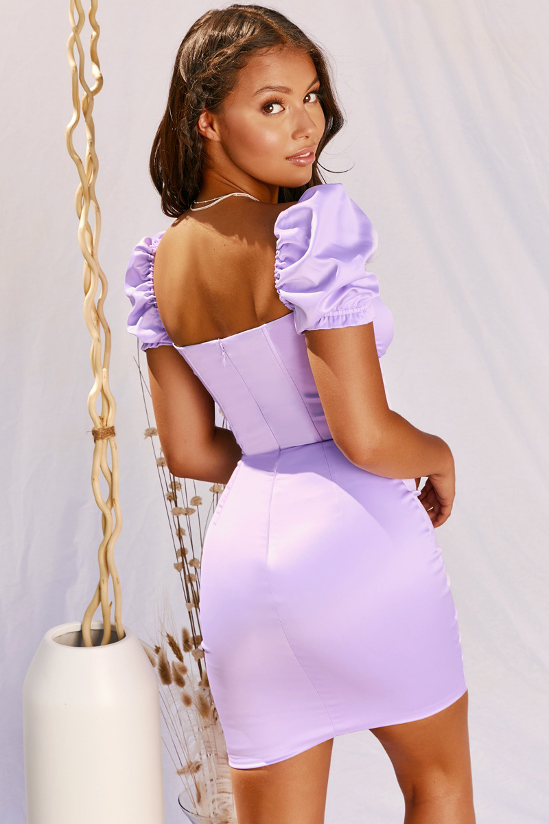 Elegant Backless Satin Bandage Ruched Bodycon Dress 12