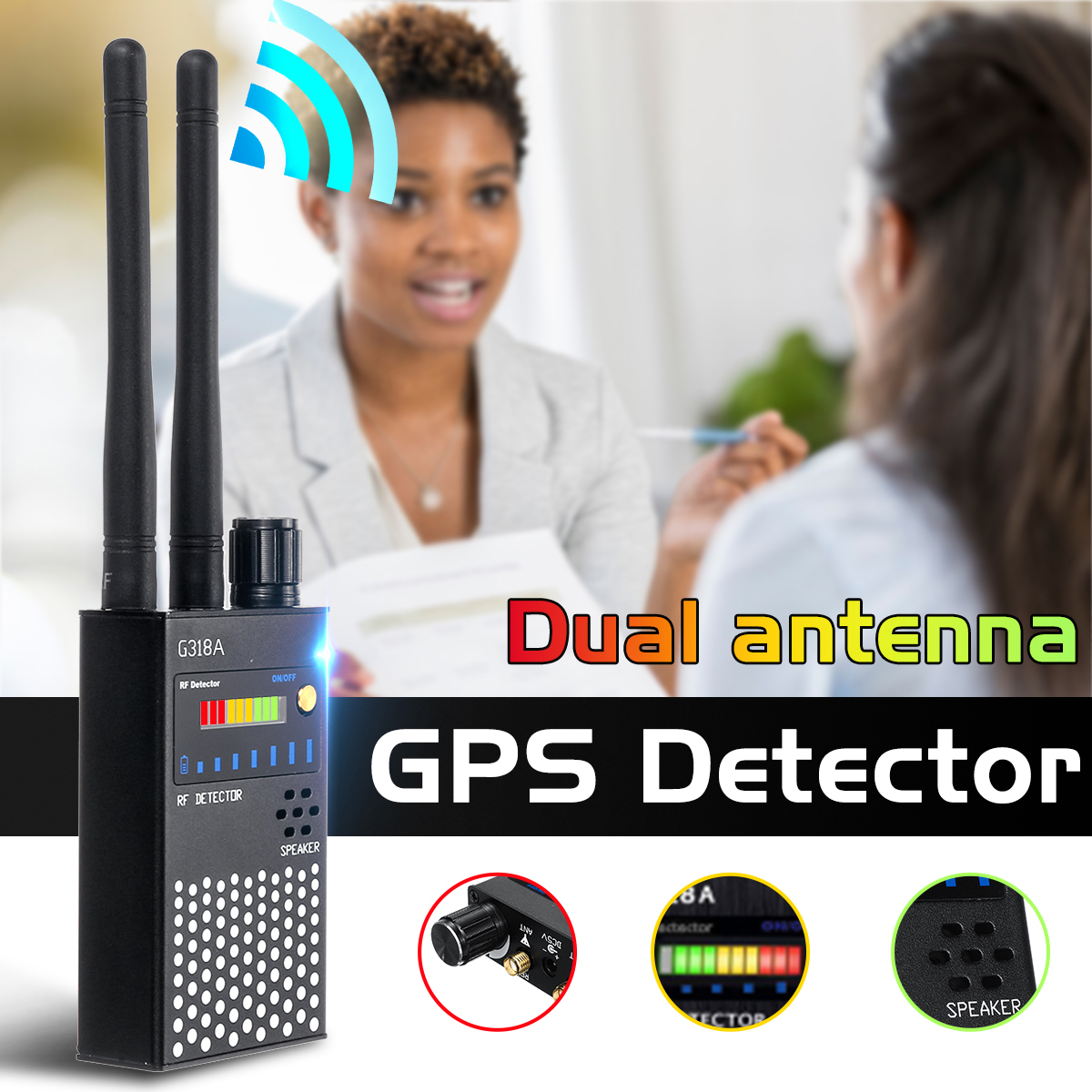 Update G318A Wireless Signal Bug Detector Anti-Spy Bug Detector GPS Location Dual Antenna Finder-Tracker Frequency Scan Securit