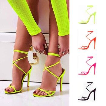 2019 в европейском стиле Летние яркие сандалии с острым носком с кружевом Ремешок на щиколотке вечерние высокие ботинки на каблуках 11,5 см выс...