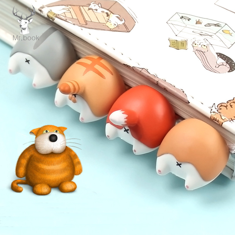 Cartoon Dog Cat Ass Bookmarks Squishy Toys Book Reading Item Creative Gift Toy For Kids Hamster Fox Page Flag Squishy Figure Toy