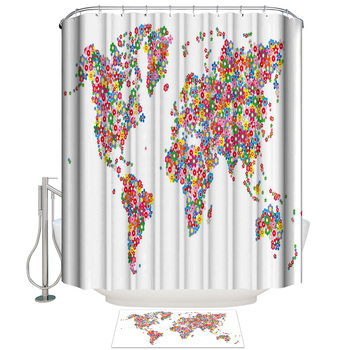 Paradise Flowers Banner Map Bathroom Mat With Shower Curtain Bathroom Accessory Sets 2 Piece Bathroom Set Shower Curtain Sets