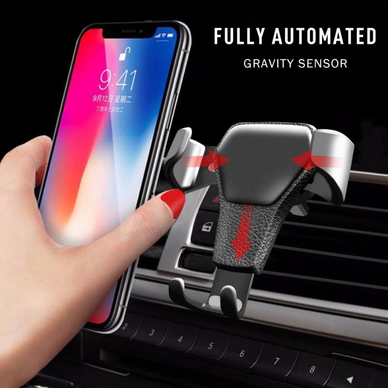 Кожаный гравитационный Автомобильный кронштейн с вентиляционным отверстием для IPhone 8 XS XR Samsung с поддержкой телефона Voiture Универсальный Авто...