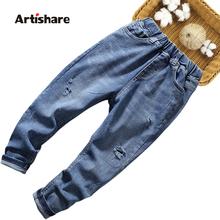 Dżinsy dla chłopców dziura dżinsy dla dzieci chłopcy jednokolorowe dziecięce porwane jeansy Casual Style odzież dziecięca 6 8 10 12 14 tanie tanio Artishare Na co dzień Pasuje prawda na wymiar weź swój normalny rozmiar 03N0278 Elastyczny pas Stałe REGULAR Medium