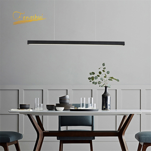 Image 4 - Modern Fish Line Long Wood LED Pendant Lamp Bar Restaurant LED Office Lamp Study Art Pendant Lights Lighting Hanging Lamp Lustre
