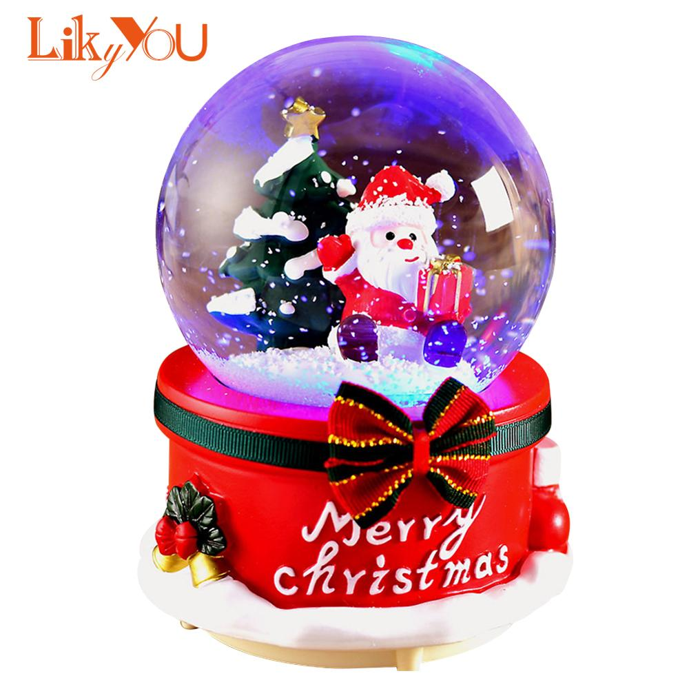Snow Globes Musical With Dancing Snowflakes Handmade Water Ball Crafts For Thanksgiving Birthday Christmas New Year