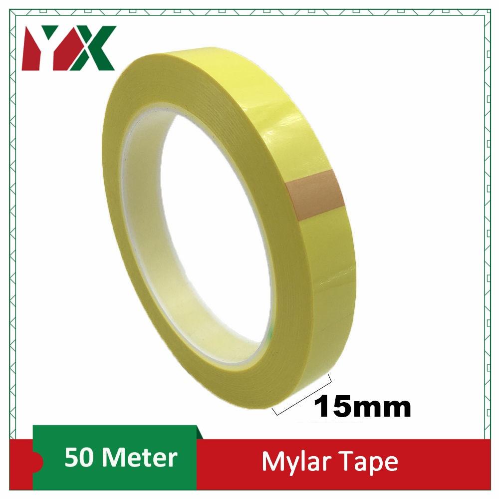 Fita de isolamento da largura de yx 15mm mylar, envoltório para o transformador, motor, bobina, condutor 50 medidores/rolo amarelo 1 pces