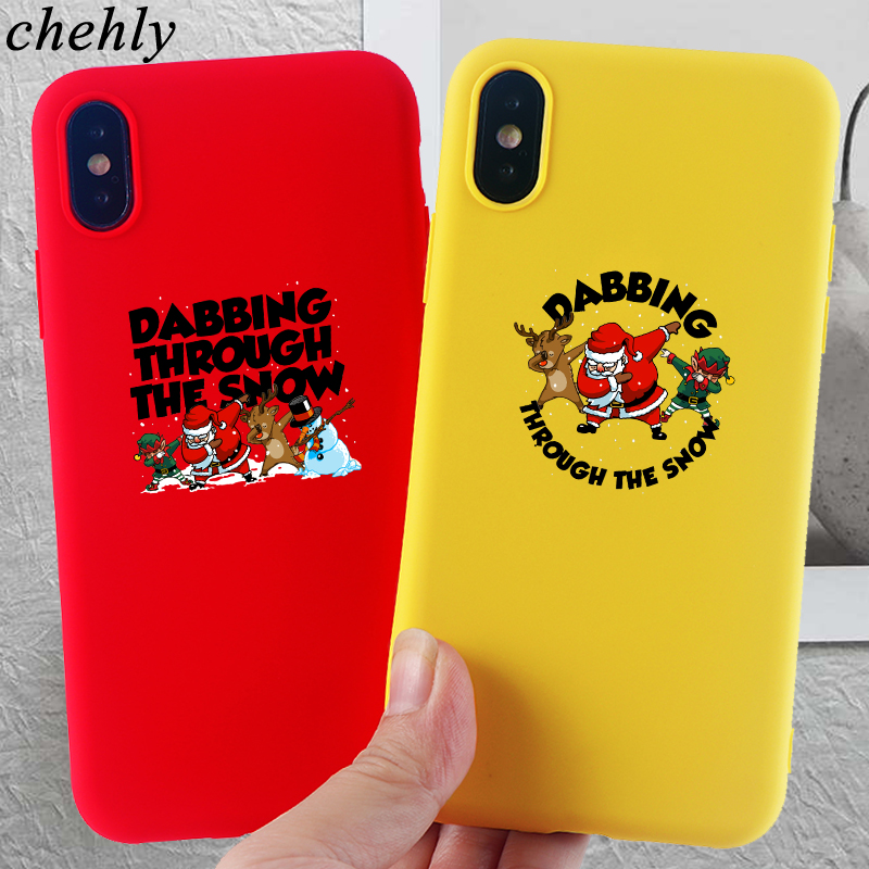 Christmas Phone Case for iPhone X XR XS Max 8 7 6 S Plus Santa Claus Cases Soft Silicone Fitted Mobile Phone Accessories Covers in Fitted Cases from Cellphones Telecommunications