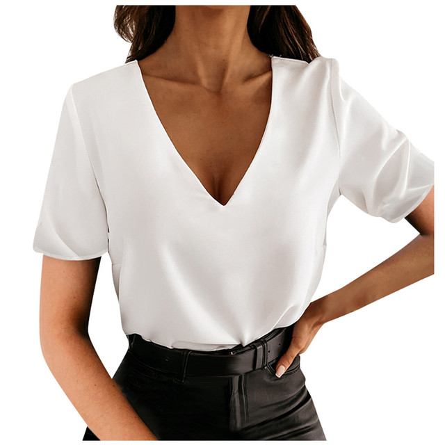 #S0 F# Women Solid Elegant Blouse V-neck Short Sleeve Elegant Office Lady Slim Sexy Casual Blouses Tops Temperament Shirts Кофта 5