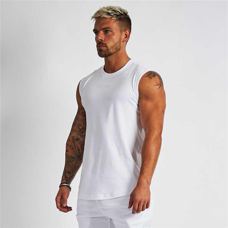 Compression chemise sans manches Fitness hommes débardeur coton vêtements de sport musculation Stringer débardeur Muscle Singlet gilet d'entraînement