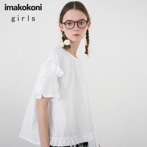 Imakokoni чисто белая футболка с коротким рукавом японский оригинальный дизайн простая свободная футболка большого размера Женская летняя 192581