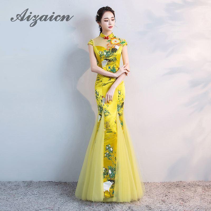 Yellow Crane Long Evening Dress Mermaid Elegant Satin Oriental Style Dresses Chinese Vintage Cheongsam Embroidery Wedding Qipao