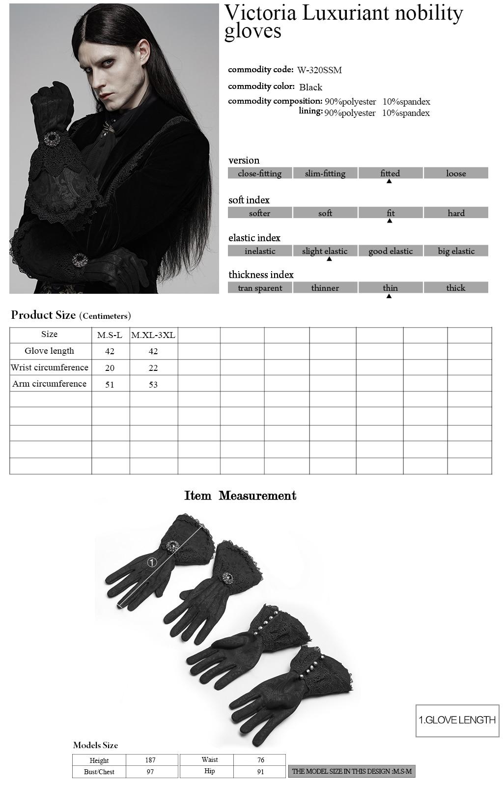 PUNK RAVE guantes de nobleza lujosos para hombre Victoria elegantes de gamuza Floral de encaje de invierno largo Formal de fiesta de noche de cena guantes - 6