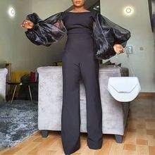 Женский комбинезон с большими рукавами фонариками черный облегающий