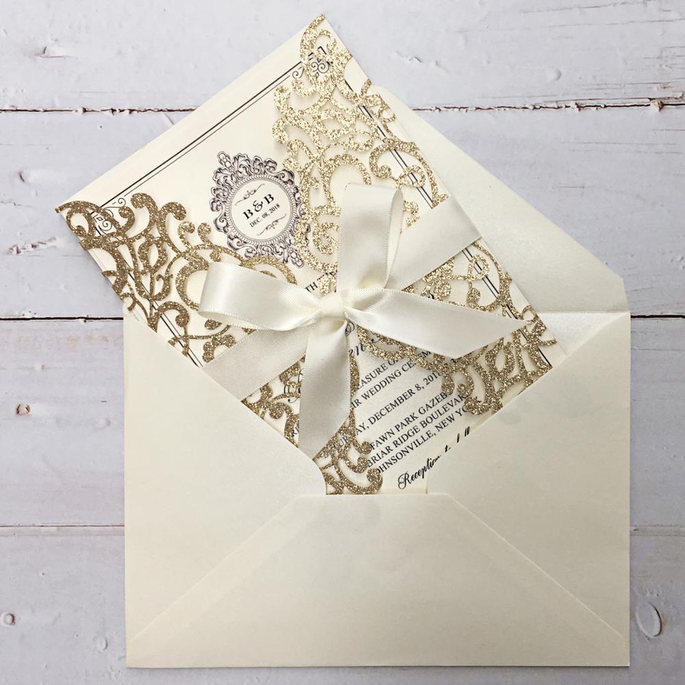 Pemilih Pengantin 50 Pcs Mewah Glitter Emas Undangan Pernikahan Mutiara Kartu Undangan Untuk Pernikahan Dengan Amplop Set 50 Pcs Kartu Undangan Aliexpress
