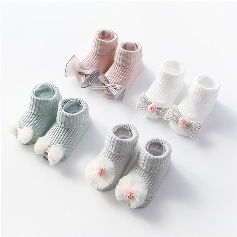 1 Pair Non-slip Sweat Absorption Cotton Socks Lace Autumn Winter Baby Thread Piles Loose Baby Socks - Size S 9-18 Month (Green)