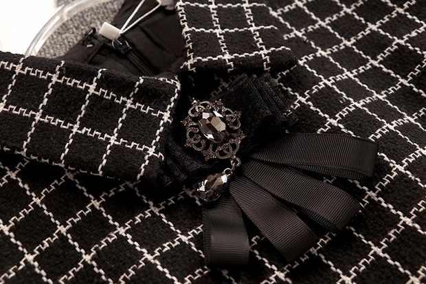 קטן ניחוח משובץ טוויד שמלת 2019 סתיו חורף נשים של שרוולים תורו למטה צווארון קשת יהלומים אפוד ראפלס בת ים שמלה