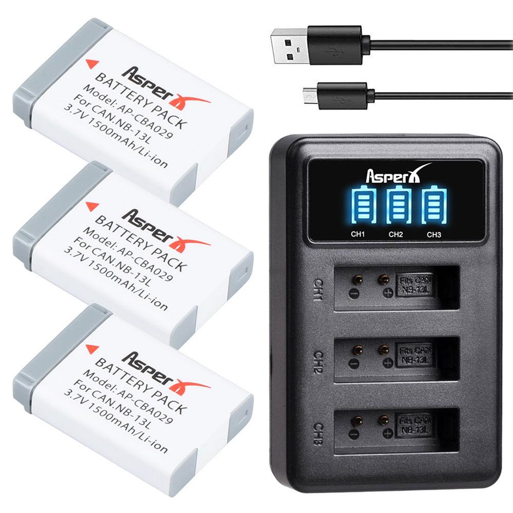 3 шт., аккумуляторные батарейки 1500 мАч, 13 л + зарядное устройство USB со светодиодной подсветкой, 3 порта, для камеры Canon G5X G7X G9X G7 X Mark II SX720 HS